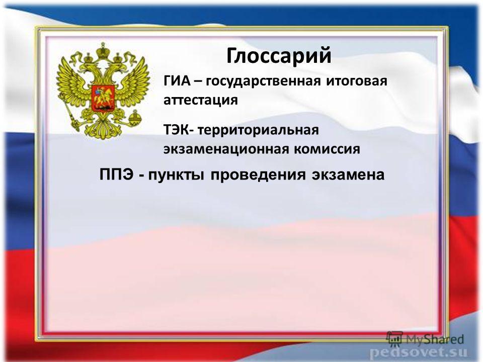 Глоссарий ТЭК- территориальная экзаменационная комиссия ППЭ - пункты проведения экзамена ГИА – государственная итоговая аттестация