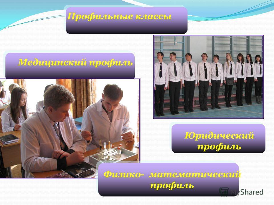 Медицинский профиль Юридический профиль Физико- математический профиль Профильные классы