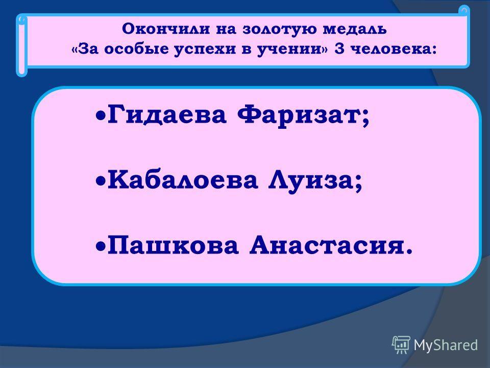 Окончили на золотую медаль «За особые успехи в учении» 3 человека: Гидаева Фаризат; Кабалоева Луиза; Пашкова Анастасия.