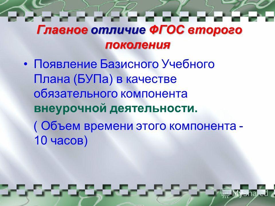 Главное отличие ФГОС второго поколения Появление Базисного Учебного Плана (БУПа) в качестве обязательного компонента внеурочной деятельности. ( Объем времени этого компонента - 10 часов)
