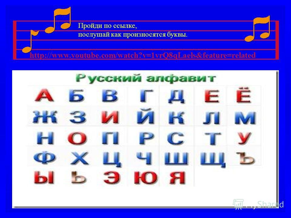 http://www.youtube.com/watch?v=1vrQ8qLaels&feature=related Пройди по ссылке, послушай как произносятся буквы.