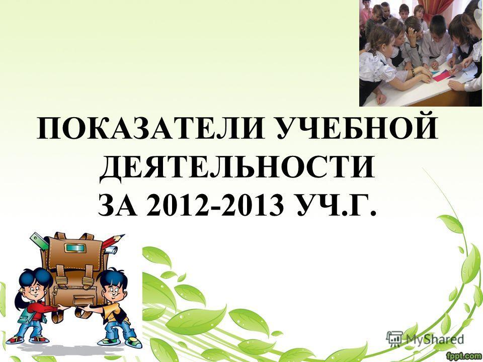 ПОКАЗАТЕЛИ УЧЕБНОЙ ДЕЯТЕЛЬНОСТИ ЗА 2012-2013 УЧ.Г.