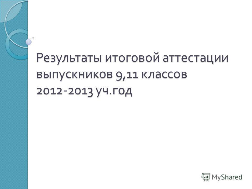 Результаты итоговой аттестации выпускников 9,11 классов 2012-2013 уч. год