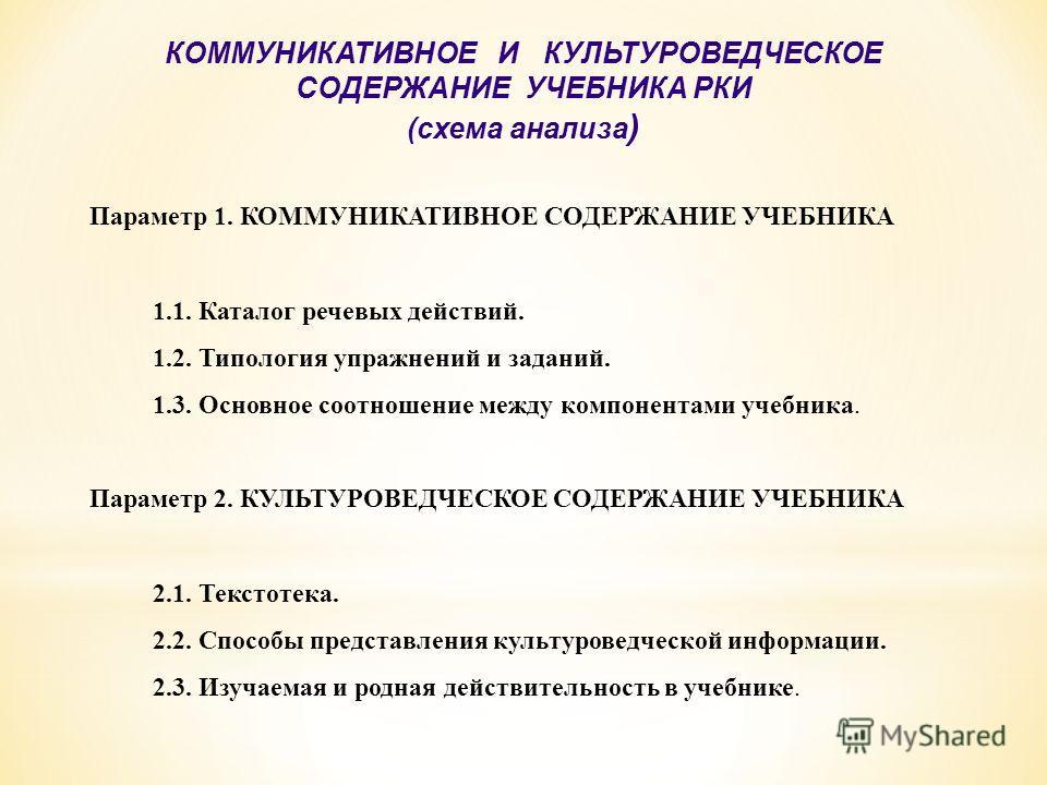 КОММУНИКАТИВНОЕ И КУЛЬТУРОВЕДЧЕСКОЕ СОДЕРЖАНИЕ УЧЕБНИКА РКИ (схема анализа ) Параметр 1. КОММУНИКАТИВНОЕ СОДЕРЖАНИЕ УЧЕБНИКА 1.1. Каталог речевых действий. 1.2. Типология упражнений и заданий. 1.3. Основное соотношение между компонентами учебника. Па