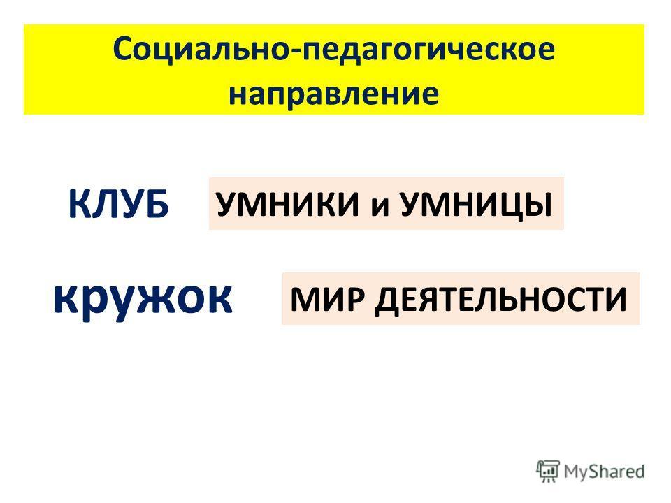 Социально-педагогическое направление КЛУБ МИР ДЕЯТЕЛЬНОСТИ УМНИКИ и УМНИЦЫ кружок
