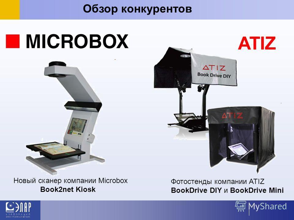 Обзор конкурентов ATIZ Фотостенды компании ATIZ BookDrive DIY и BookDrive Mini Новый сканер компании Microbox Book2net Kiosk