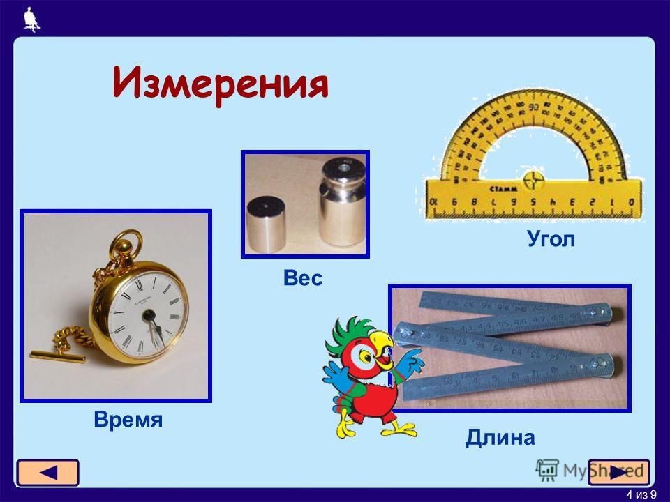 4 из 9 Измерения Время Длина Угол Вес