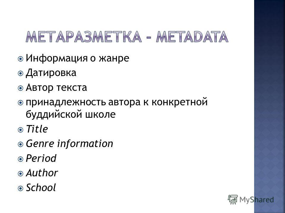 Информация о жанре Датировка Автор текста принадлежность автора к конкретной буддийской школе Title Genre information Period Author School