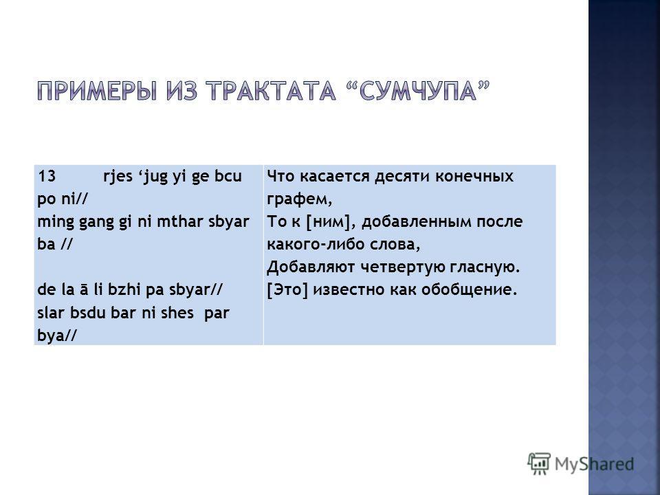 13rjes jug yi ge bcu po ni// ming gang gi ni mthar sbyar ba // de la ā li bzhi pa sbyar// slar bsdu bar ni shes par bya// Что касается десяти конечных графем, То к [ним], добавленным после какого-либо слова, Добавляют четвертую гласную. [Это] известн