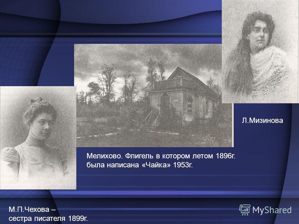 М.П.Чехова – сестра писателя 1899г. Л.Мизинова Мелихово. Флигель в котором летом 1896г. была написана «Чайка» 1953г.
