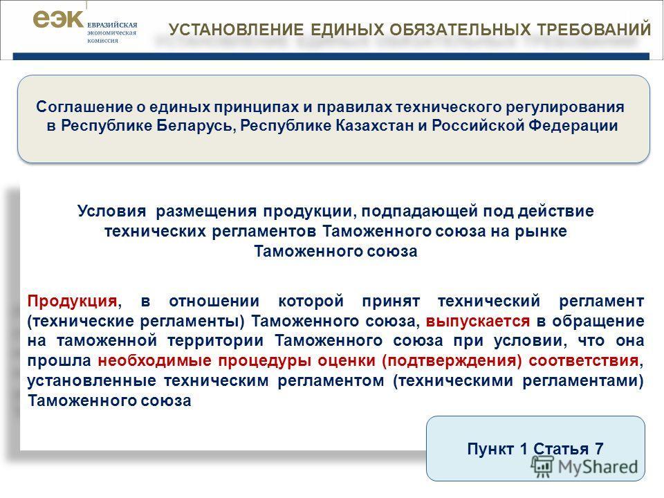 УСТАНОВЛЕНИЕ ЕДИНЫХ ОБЯЗАТЕЛЬНЫХ ТРЕБОВАНИЙ | 2 Соглашение о единых принципах и правилах технического регулирования в Республике Беларусь, Республике Казахстан и Российской Федерации Условия размещения продукции, подпадающей под действие технических