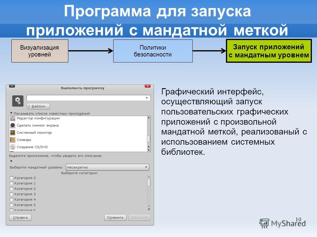 10 Программа для запуска приложений с мандатной меткой Графический интерфейс, осуществляющий запуск пользовательских графических приложений с произвольной мандатной меткой, реализованый с использованием системных библиотек. Политики безопасности Визу