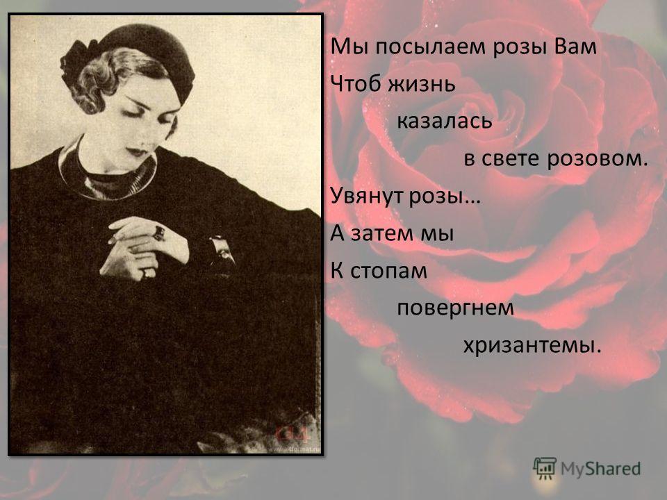 Мы посылаем розы Вам Чтоб жизнь казалась в свете розовом. Увянут розы… А затем мы К стопам повергнем хризантемы.