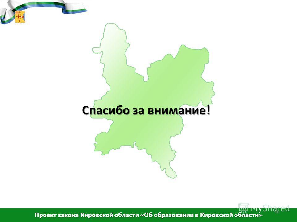 Спасибо за внимание! Проект закона Кировской области «Об образовании в Кировской области» 18