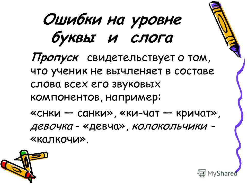 Ошибки на уровне буквы и слога Пропуск свидетельствует о том, что ученик не вычленяет в составе слова всех его звуковых компонентов, например: «снки санки», «ки-чат кричат», девочка - «девча», колокольчики - «калкочи».