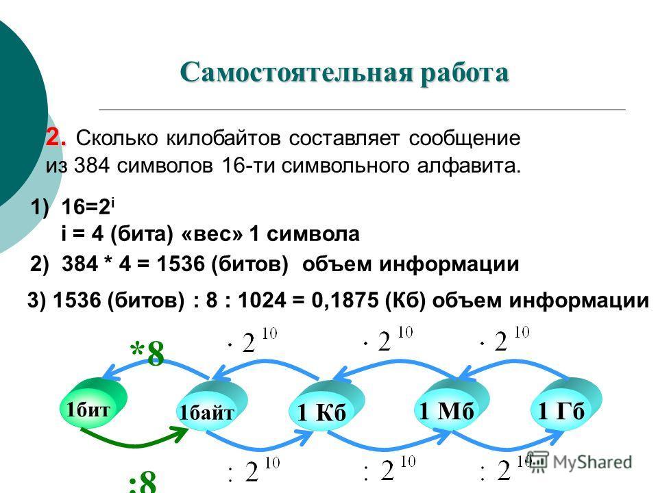 2. 2. Сколько килобайтов составляет сообщение из 384 символов 16-ти символьного алфавита. 1) 16=2 i i = 4 (бита) «вес» 1 символа 2) 384 * 4 = 1536 (битов) объем информации 3) 1536 (битов) : 8 : 1024 = 0,1875 (Кб) объем информации 1байт 1 Кб 1 Мб1 Гб