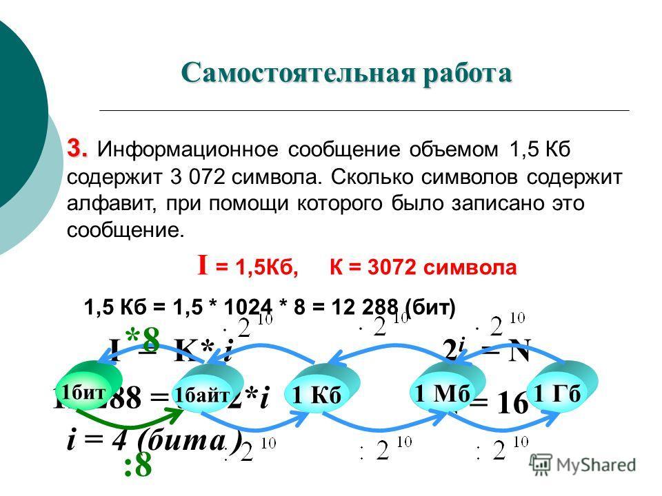 3. 3. Информационное сообщение объемом 1,5 Кб содержит 3 072 символа. Сколько символов содержит алфавит, при помощи которого было записано это сообщение. 1,5 Кб = 1,5 * 1024 * 8 = 12 288 (бит) I = K* i I = 1,5Кб, К = 3072 символа 12 288 = 3072*i i =