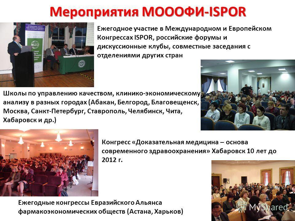 Мероприятия МОООФИ-ISPOR Ежегодное участие в Международном и Европейском Конгрессах ISPOR, российские форумы и дискуссионные клубы, совместные заседания с отделениями других стран Школы по управлению качеством, клинико-экономическому анализу в разных