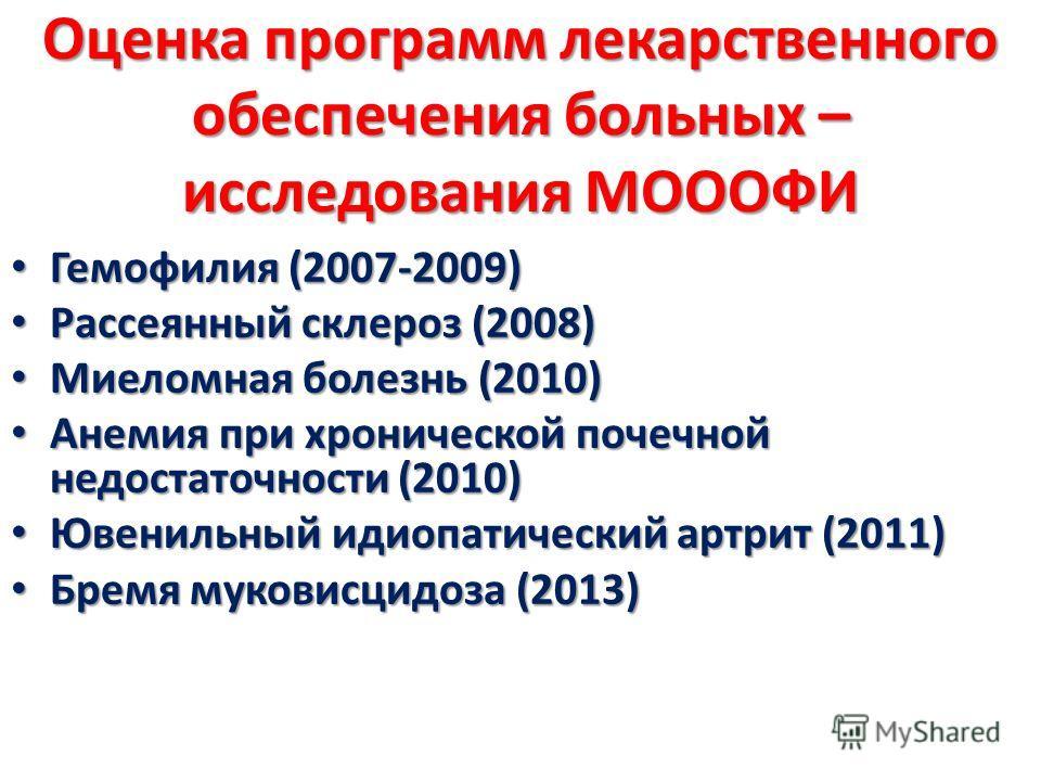 Оценка программ лекарственного обеспечения больных – исследования МОООФИ Гемофилия (2007-2009) Гемофилия (2007-2009) Рассеянный склероз (2008) Рассеянный склероз (2008) Миеломная болезнь (2010) Миеломная болезнь (2010) Анемия при хронической почечной