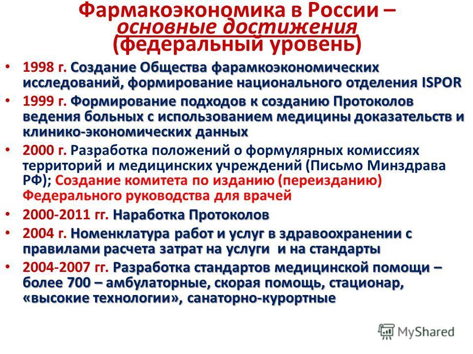 Фармакоэкономика в России – основные достижения (федеральный уровень) Создание Общества фарамкоэкономических исследований, формирование национального отделения ISPOR 1998 г. Создание Общества фарамкоэкономических исследований, формирование национальн
