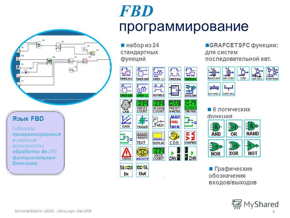 Schneider Electric 9 - LEC02 - Zelio Logic – Dec 2009 набор из 24 стандартных функций FBD программирование Графические обозначения входов/выходов Гибкость программирования и широкие возможности обработки до 200 функциональных блок-схем. Язык FBD GRAF