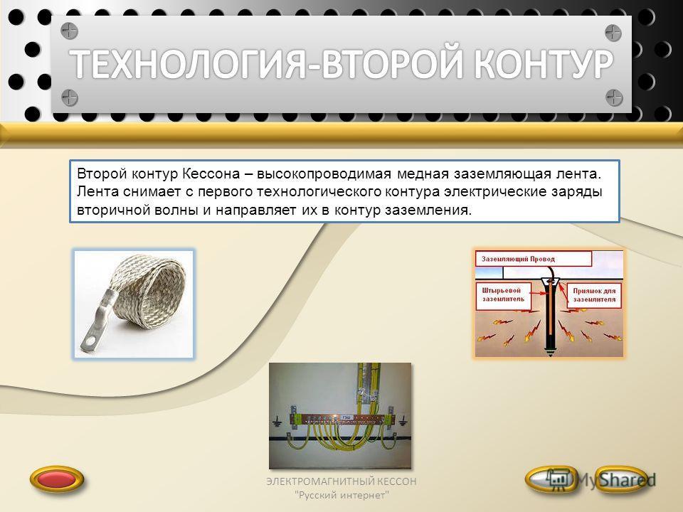 ЭЛЕКТРОМАГНИТНЫЙ КЕССОН Русский интернет Второй контур Кессона – высокопроводимая медная заземляющая лента. Лента снимает с первого технологического контура электрические заряды вторичной волны и направляет их в контур заземления.