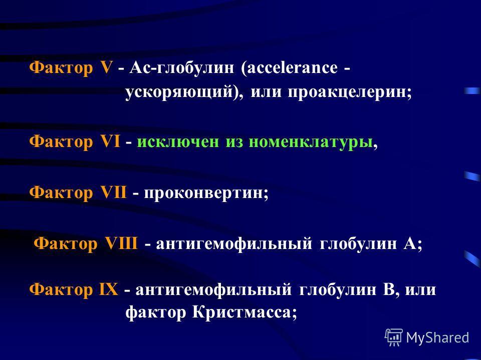 Фактор V - Ас-глобулин (accelerance - ускоряющий), или проакцелерин; Фактор VI - исключен из номенклатуры, Фактор VII - проконвертин; Фактор VIII - антигемофильный глобулин А; Фактор IХ - антигемофильный глобулин В, или фактор Кристмасса;