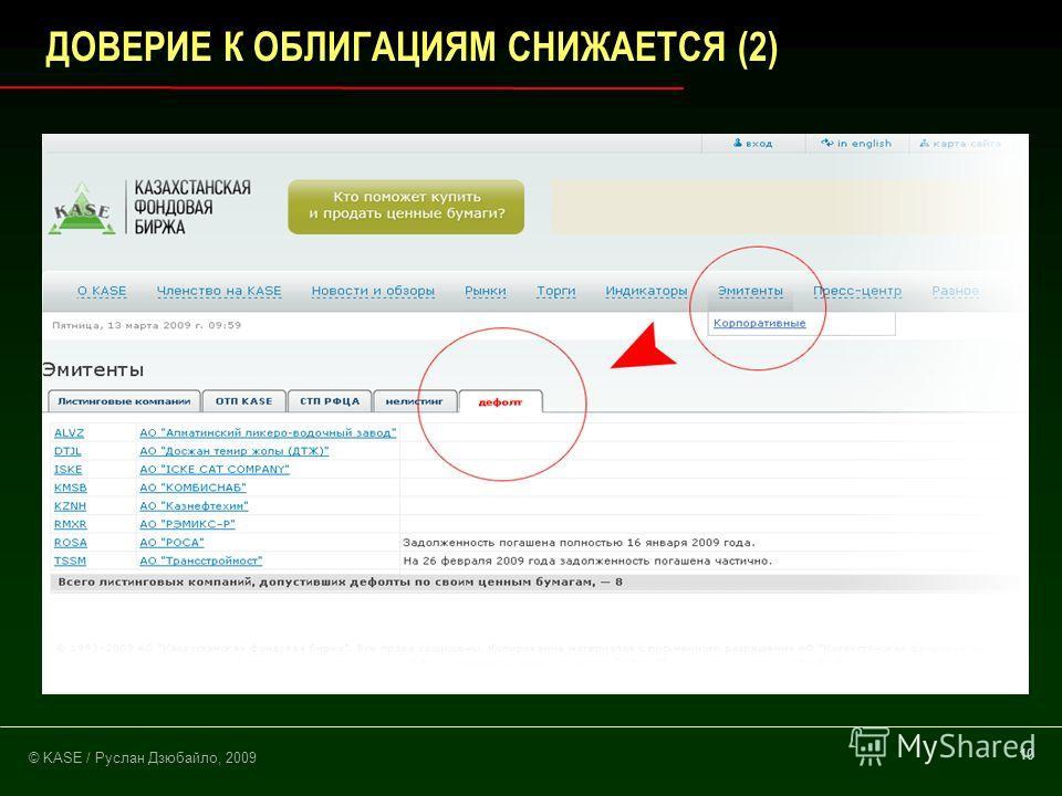 © KASE / Руслан Дзюбайло, 2009 10 ДОВЕРИЕ К ОБЛИГАЦИЯМ СНИЖАЕТСЯ (2)