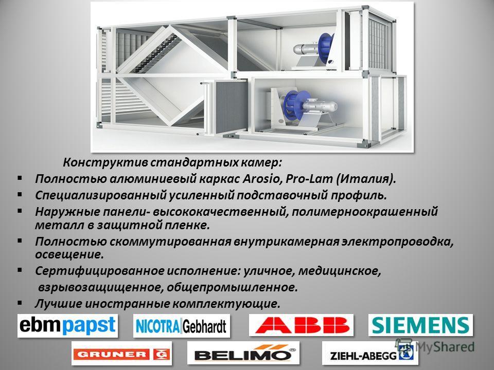 Конструктив стандартных камер: Полностью алюминиевый каркас Arosio, Pro-Lam (Италия). Специализированный усиленный подставочный профиль. Наружные панели- высококачественный, полимерноокрашенный металл в защитной пленке. Полностью скоммутированная вну