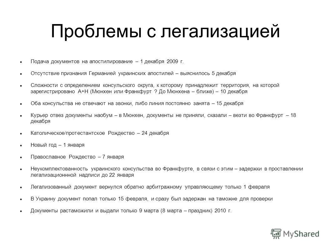 Проблемы с легализацией Подача документов на апостилирование – 1 декабря 2009 г. Отсутствие признания Германией украинских апостилей – выяснилось 5 декабря Сложности с определением консульского округа, к которому принадлежит территория, на которой за