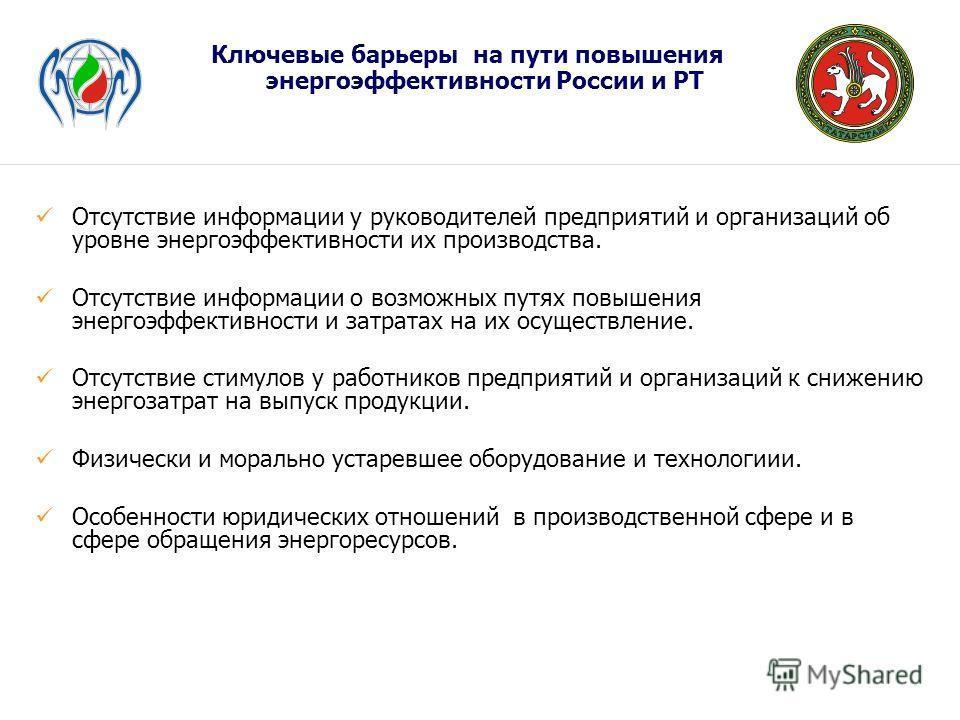 Ключевые барьеры на пути повышения энергоэффективности России и РТ Отсутствие информации у руководителей предприятий и организаций об уровне энергоэффективности их производства. Отсутствие информации о возможных путях повышения энергоэффективности и