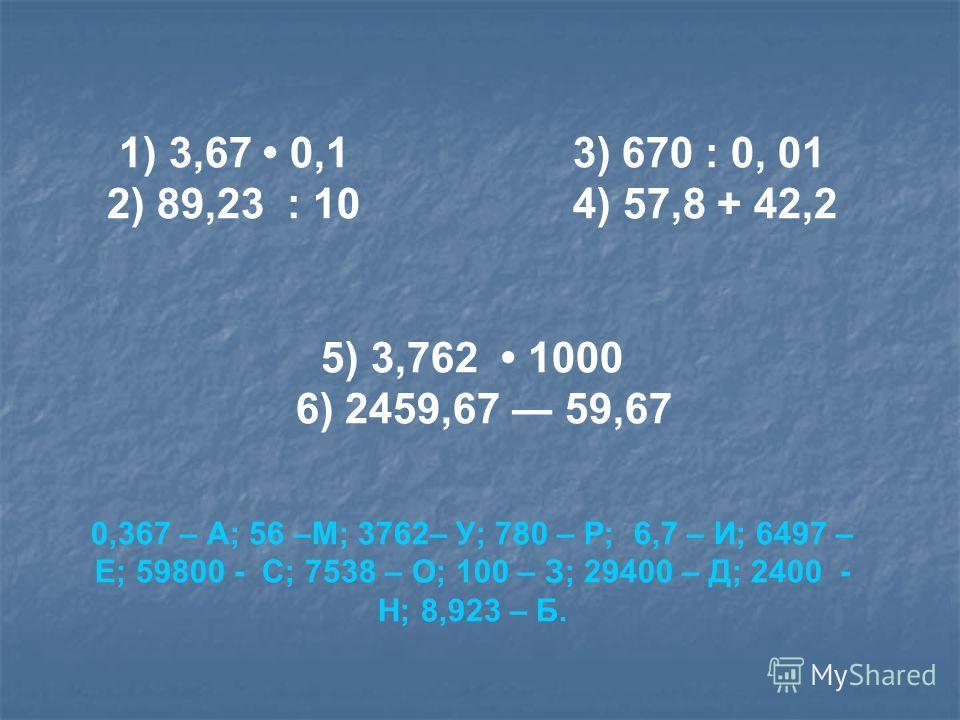 1) 3,67 0,1 3) 670 : 0, 01 2) 89,23 : 10 4) 57,8 + 42,2 5) 3,762 1000 6) 2459,67 59,67 0,367 – А; 56 –М; 3762– У; 780 – Р; 6,7 – И; 6497 – Е; 59800 - С; 7538 – О; 100 – З; 29400 – Д; 2400 - Н; 8,923 – Б.