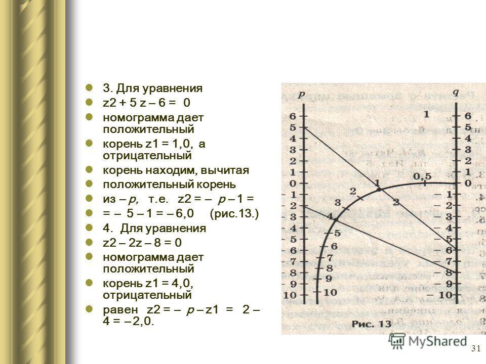 31 3. Для уравнения z2 + 5 z – 6 = 0 номограмма дает положительный корень z1 = 1,0, а отрицательный корень находим, вычитая положительный корень из – р, т.е. z2 = – р – 1 = = – 5 – 1 = – 6,0 (рис.13.) 4. Для уравнения z2 – 2z – 8 = 0 номограмма дает