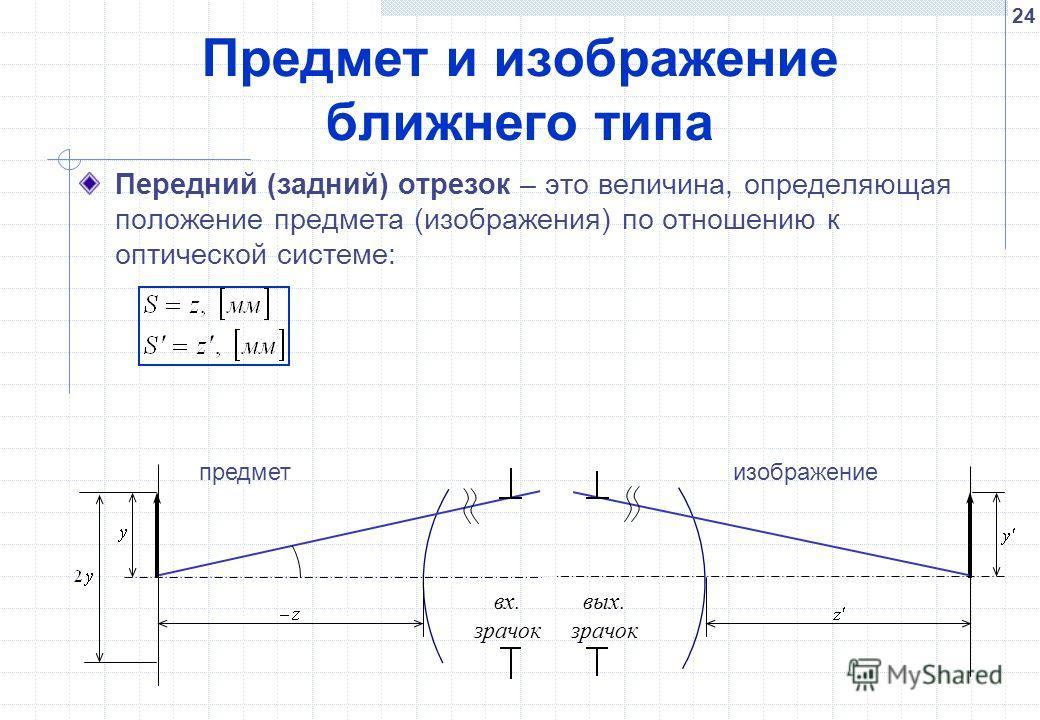 24 Предмет и изображение ближнего типа Передний (задний) отрезок – это величина, определяющая положение предмета (изображения) по отношению к оптической системе: вх. зрачок вых. зрачок предметизображение