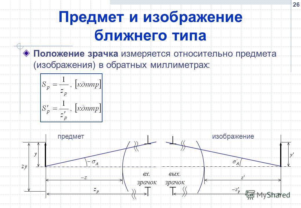 26 Предмет и изображение ближнего типа Положение зрачка измеряется относительно предмета (изображения) в обратных миллиметрах: вх. зрачок вых. зрачок предметизображение