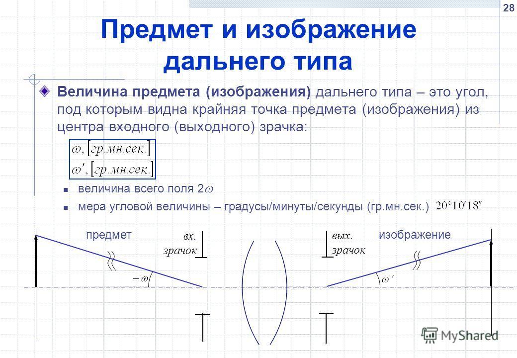 28 Предмет и изображение дальнего типа Величина предмета (изображения) дальнего типа – это угол, под которым видна крайняя точка предмета (изображения) из центра входного (выходного) зрачка: величина всего поля 2 мера угловой величины – градусы/минут