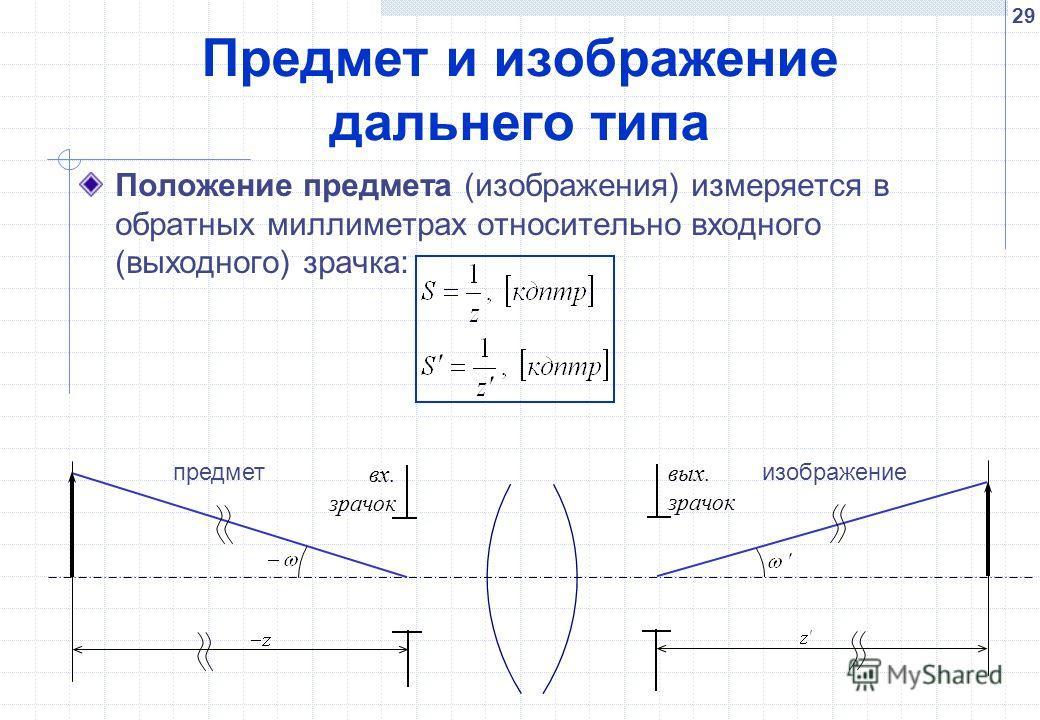 29 Предмет и изображение дальнего типа Положение предмета (изображения) измеряется в обратных миллиметрах относительно входного (выходного) зрачка: вых. зрачок вх. зрачок предметизображение