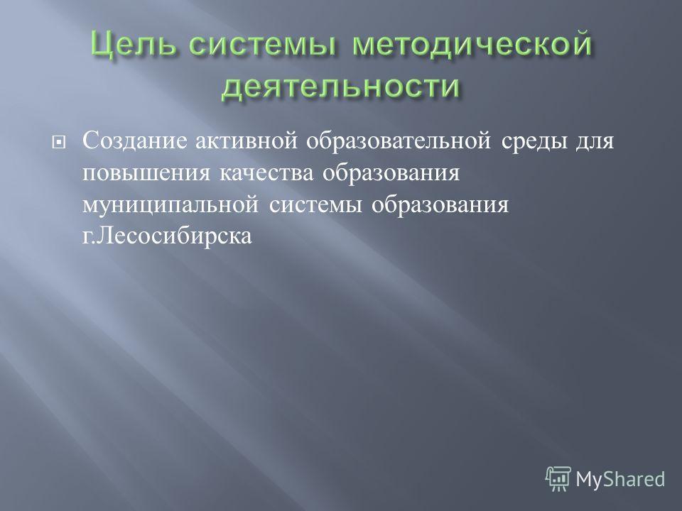 Создание активной образовательной среды для повышения качества образования муниципальной системы образования г. Лесосибирска