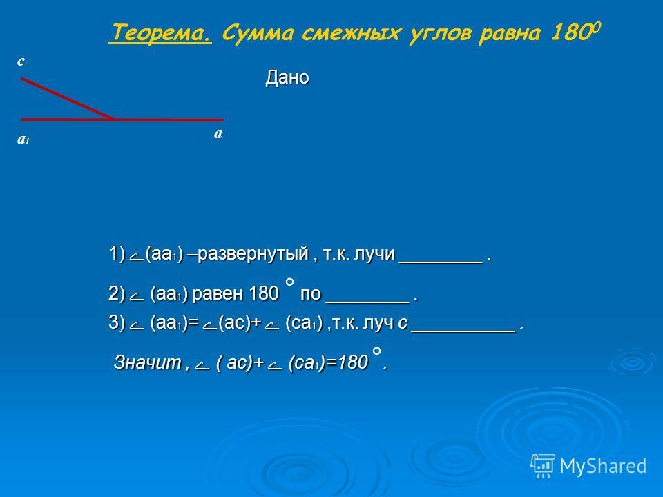 1) ے(аа 1 ) –развернутый, т.к. лучи ________. 2) ے (аа 1 ) равен 180 по ________. 2) ے (аа 1 ) равен 180 ° по ________. 3) ے (аа 1 )= ے(ас)+ ے (са 1 ),т.к. луч с __________. Значит, ے ( ас)+ ے (са 1 )=180. Значит, ے ( ас)+ ے (са 1 )=180 °. a1a1 a c Д