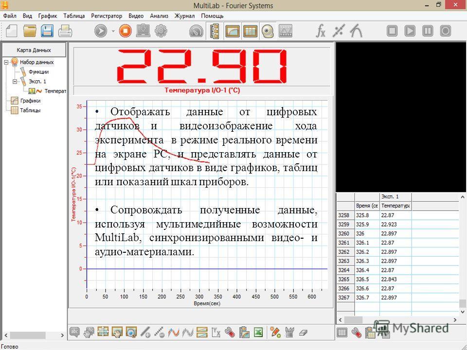 Отображать данные от цифровых датчиков и видеоизображение хода эксперимента в режиме реального времени на экране РС, и представлять данные от цифровых датчиков в виде графиков, таблиц или показаний шкал приборов. Сопровождать полученные данные, испол
