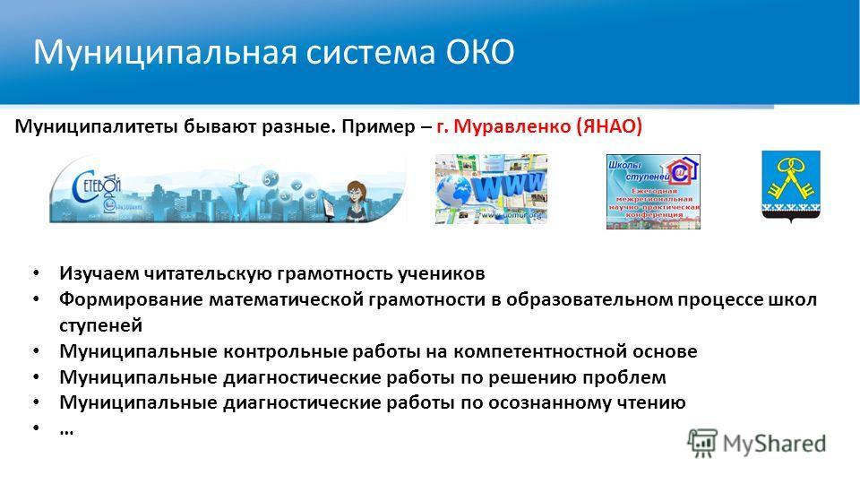 Муниципальная система ОКО Муниципалитеты бывают разные. Пример – г. Муравленко (ЯНАО) Изучаем читательскую грамотность учеников Формирование математической грамотности в образовательном процессе школ ступеней Муниципальные контрольные работы на компе
