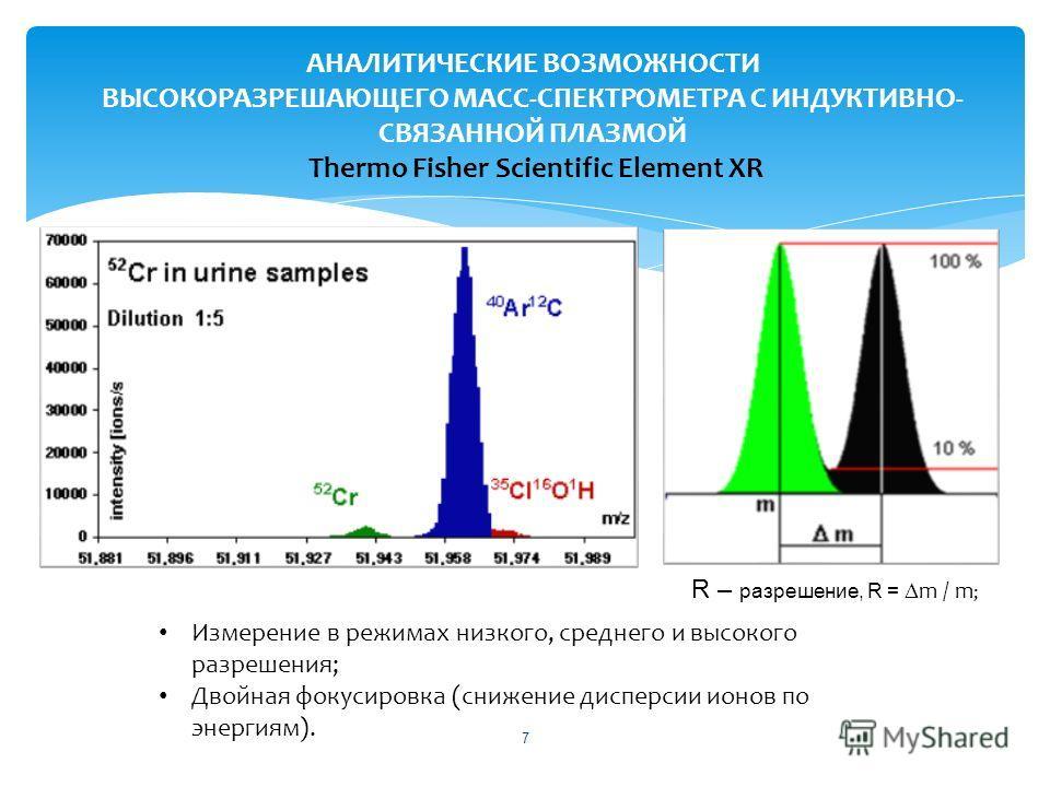 7 АНАЛИТИЧЕСКИЕ ВОЗМОЖНОСТИ ВЫСОКОРАЗРЕШАЮЩЕГО МАСС-СПЕКТРОМЕТРА С ИНДУКТИВНО- СВЯЗАННОЙ ПЛАЗМОЙ Thermo Fisher Scientific Element XR R – разрешение, R = m / m ; Измерение в режимах низкого, среднего и высокого разрешения; Двойная фокусировка (снижени