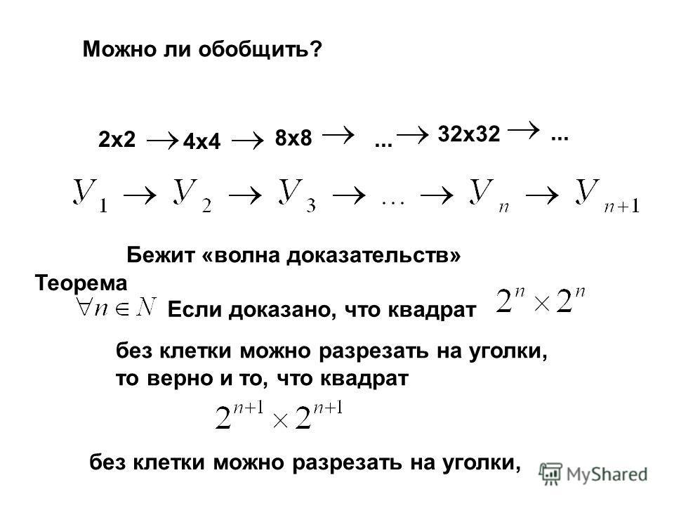 Можно ли обобщить? 2х2 4х4 8х8... Бежит «волна доказательств» 32х32... Если доказано, что квадрат без клетки можно разрезать на уголки, то верно и то, что квадрат без клетки можно разрезать на уголки, Теорема