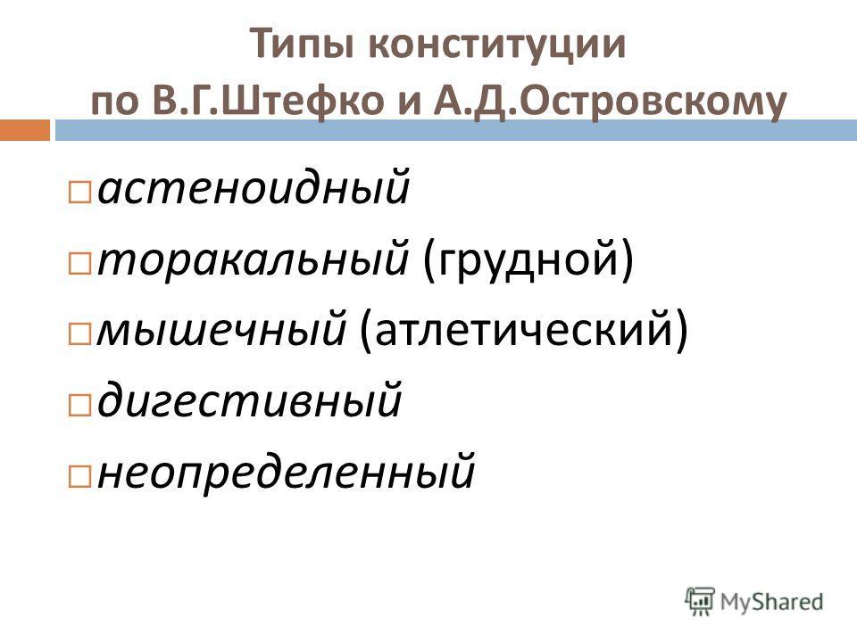 Типы конституции по В. Г. Штефко и А. Д. Островскому астеноидный торакальный ( грудной ) мышечный ( атлетический ) дигестивный неопределенный
