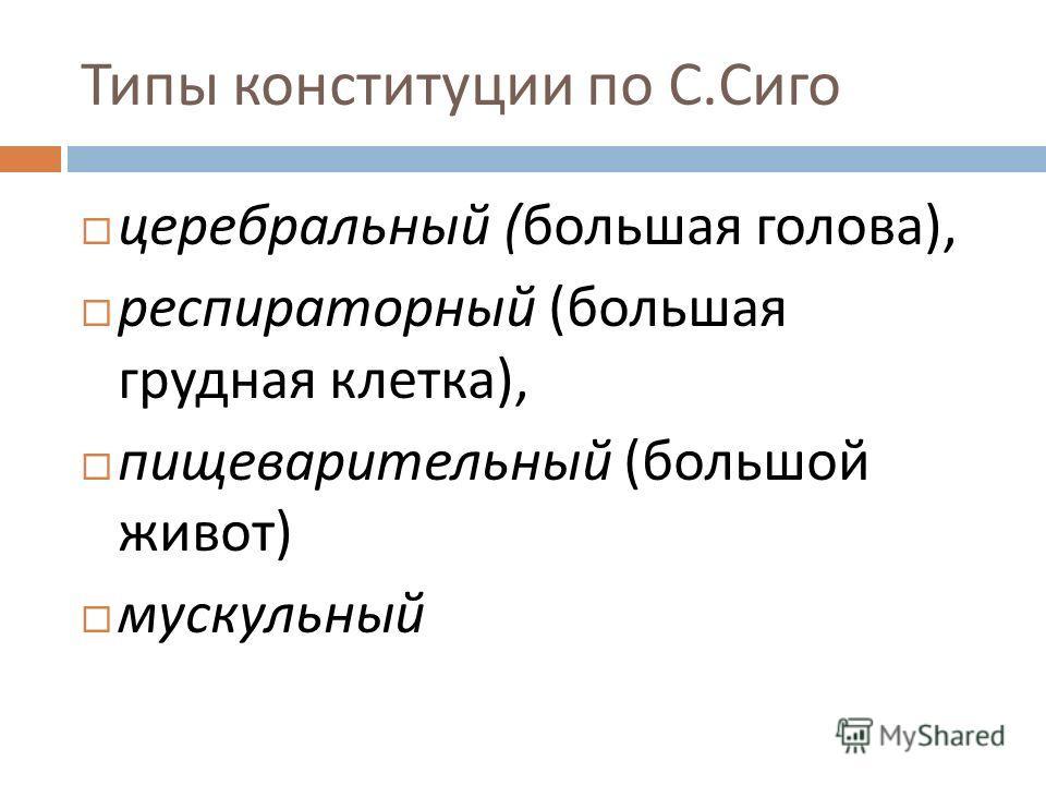 Типы конституции по С. Сиго церебральный ( большая голова ), респираторный ( большая грудная клетка ), пищеварительный ( большой живот ) мускульный