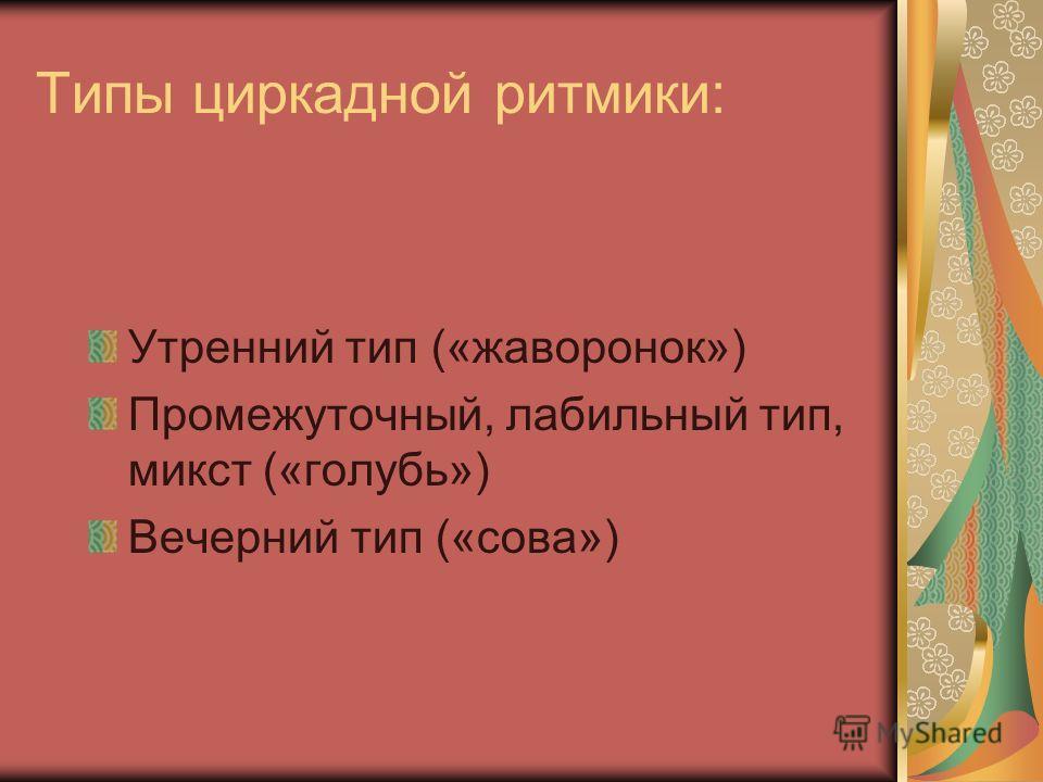 Типы циркадной ритмики: Утренний тип («жаворонок») Промежуточный, лабильный тип, микст («голубь») Вечерний тип («сова»)