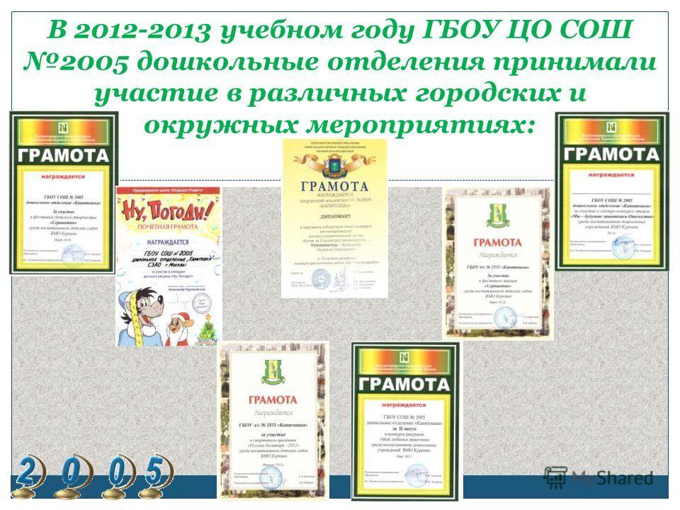В 2012-2013 учебном году ГБОУ ЦО СОШ 2005 дошкольные отделения принимали участие в различных городских и окружных мероприятиях: