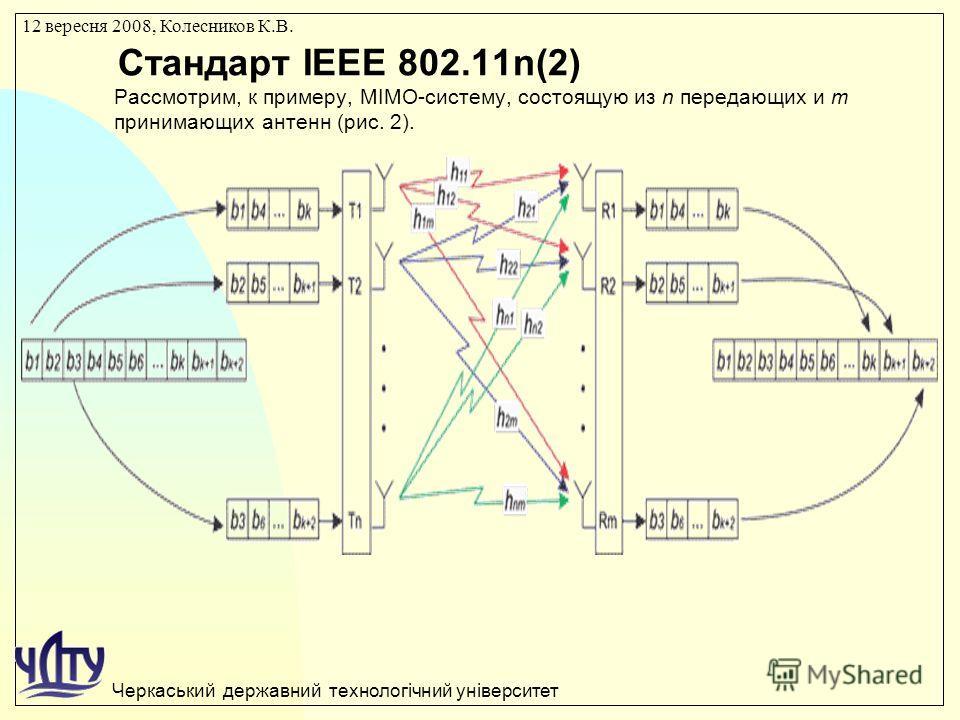 Черкаський державний технологічний університет 12 вересня 2008, Колесников К.В. Стандарт IEEE 802.11n(2) Рассмотрим, к примеру, MIMO-систему, состоящую из n передающих и m принимающих антенн (рис. 2).