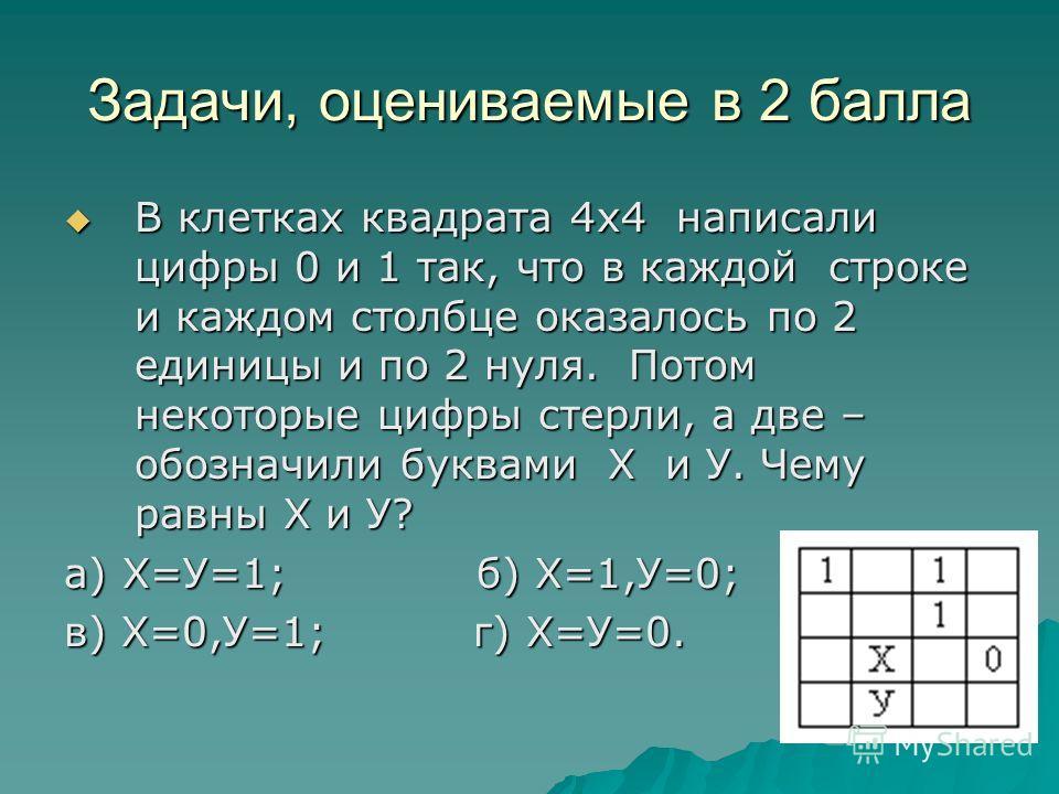 Задачи, оцениваемые в 2 балла В клетках квадрата 4х4 написали цифры 0 и 1 так, что в каждой строке и каждом столбце оказалось по 2 единицы и по 2 нуля. Потом некоторые цифры стерли, а две – обозначили буквами Х и У. Чему равны Х и У? В клетках квадра