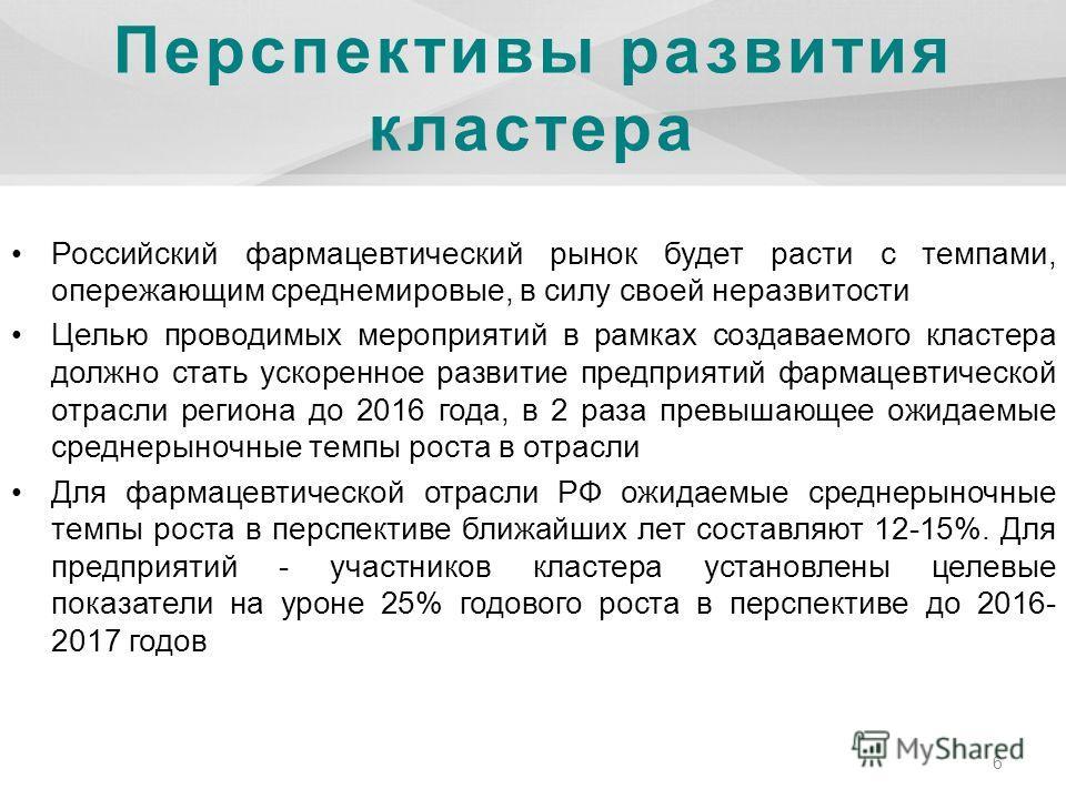 Перспективы развития кластера Российский фармацевтический рынок будет расти с темпами, опережающим среднемировые, в силу своей неразвитости Целью проводимых мероприятий в рамках создаваемого кластера должно стать ускоренное развитие предприятий фарма